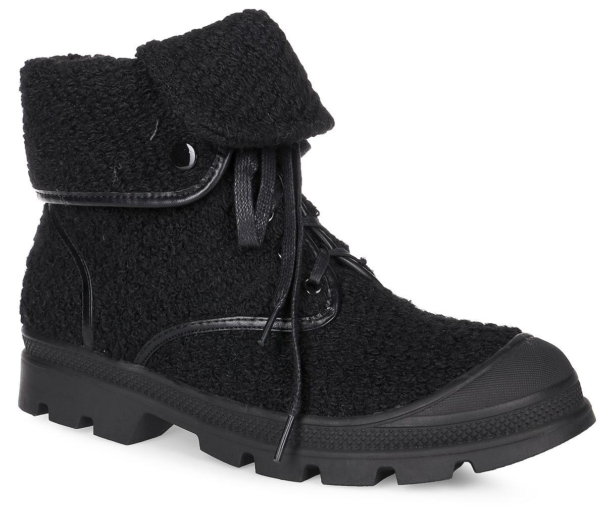 SP-FA0201-1Женские ботинки выполнены из оригинального текстиля. Подкладка и стелька, изготовленные из мягкой байки, защитят ноги от холода и обеспечат комфорт. Ботинки дополнены классической шнуровкой на подъеме. Мысок усилен резиновой вставкой. Подошва, выполненная из термопластичного материала, оснащена рифлением.