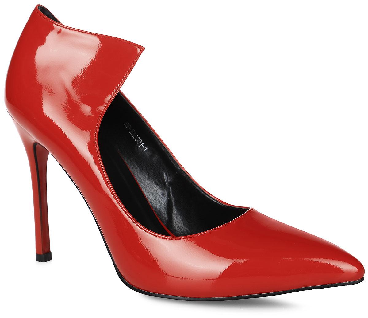 SP-BA0301-2Элегантные туфли выполнены из искусственной лаковой кожи. Стелька выполнена из натуральной кожи, которая обеспечит комфорт при движении и предотвратит натирание. Модель оснащена высоким тонким каблуком. Подошва выполнена из термопластичного материала.