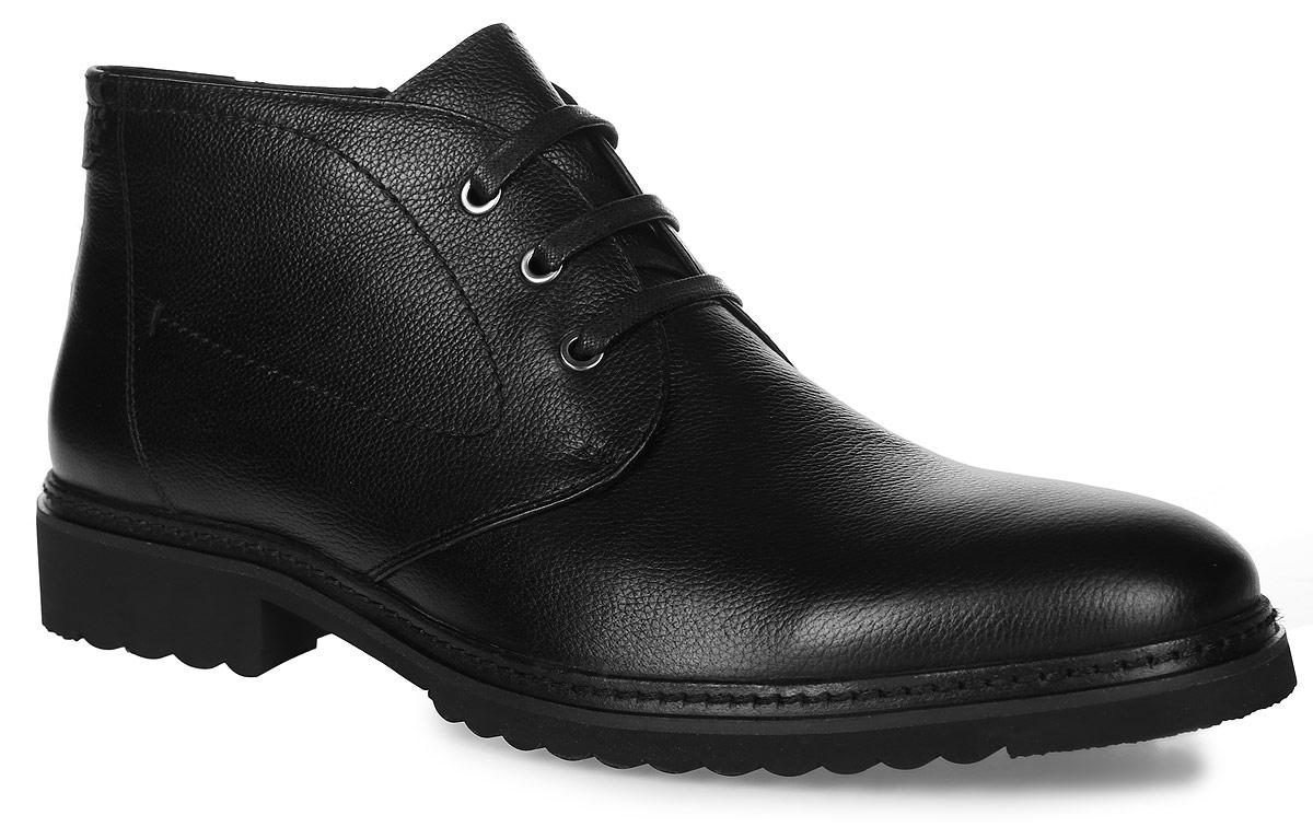 91-400-02-5Мужские ботинки от Paolo Conte выполнены из натуральной кожи. Модель на застежке-молнии, подъем дополнен классической шнуровкой. Подкладка и стелька изготовлены из байки. Резиновая подошва оснащена рифлением.