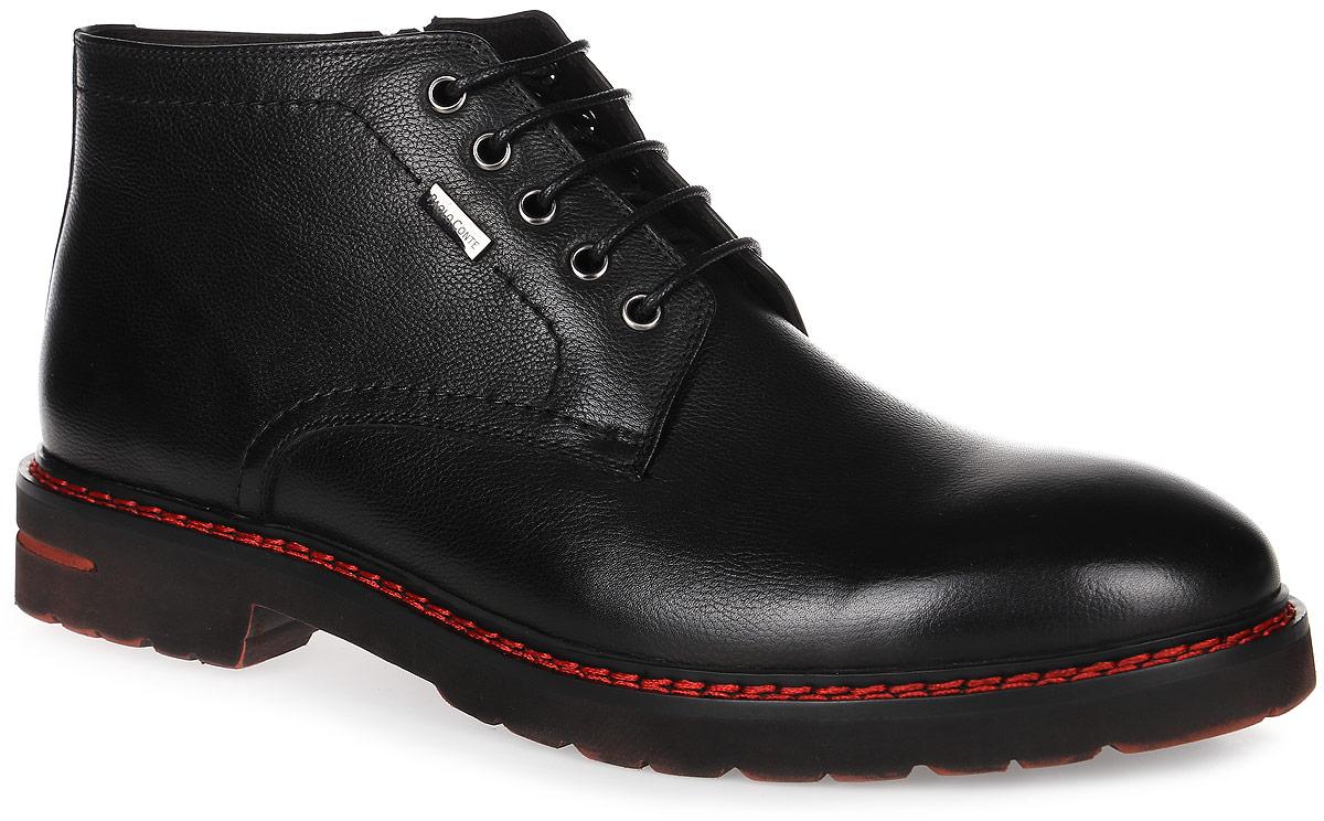 91-220-01-5Мужские ботинки от Paolo Conte выполнены из натуральной кожи. Подъем модели оформлен шнуровкой и дополнен сбоку застежкой-молнией. Подкладка и стелька изготовлены из байки. Резиновая подошва оснащена рифлением.