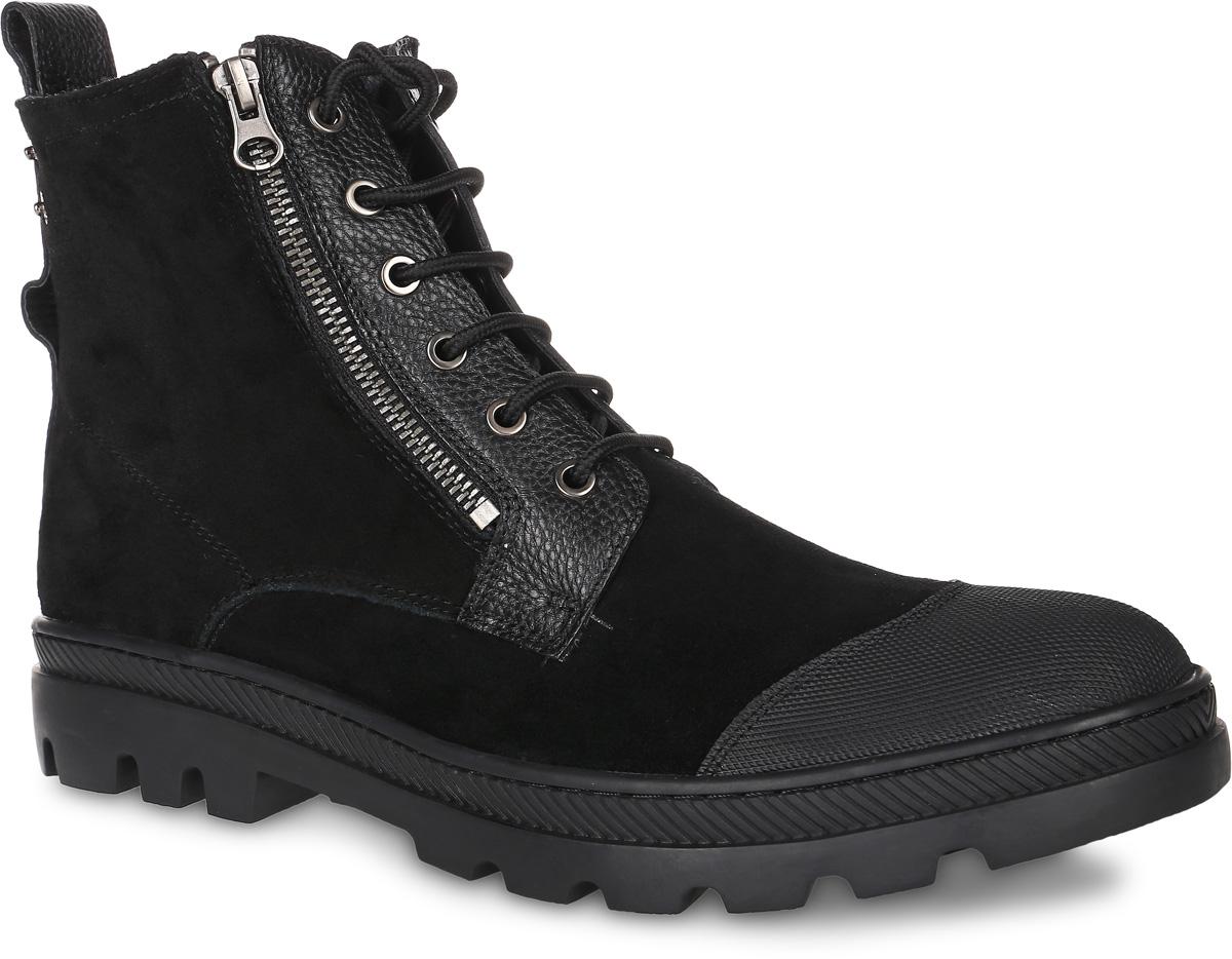 91-204-02-6Мужские ботинки от Paolo Conte выполнены из натуральной кожи со вставками из натурального велюра. Подъем модели оформлен шнуровкой и застежками-молниями. Подкладка и стелька изготовлены из шерсти. Резиновая подошва оснащена рифлением.