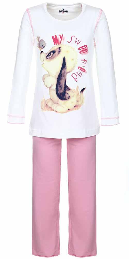 ПижамаN9002208Пижама для девочки Baykar включает в себя лонгслив и брюки. Пижама изготовлена из эластичного хлопка. Лонгслив с длинными рукавами и круглым вырезом горловины оформлен принтом с изображением щенка и надписью My Sweet Friend. Свободные брюки с широкой эластичной резинкой на поясе имеют комфортные эластичные швы.