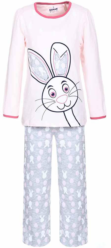 ПижамаN9011112Мягкая пижама для девочки Baykar, состоящая из футболки с длинным рукавом и брюк выполнена из хлопка с добавлением эластана. Футболка с круглым вырезом горловины и длинными рукавами. Брюки на талии имеют мягкую резинку, благодаря чему они не сдавливают животик ребенка и не сползают. По бокам брюки дополнены втачными карманами. Изделие оформлено оригинальным принтом.