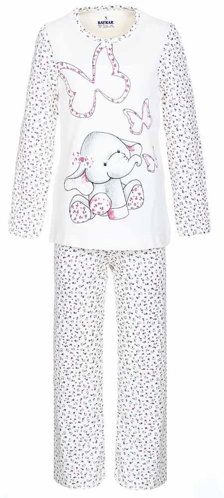 ПижамаN9021111Мягкая пижама для девочки Baykar, состоящая из футболки с длинным рукавом и брюк выполнена из хлопка с добавлением эластана. Футболка с круглым вырезом горловины и длинными рукавами. Брюки на талии имеют мягкую резинку, благодаря чему они не сдавливают животик ребенка и не сползают. Изделие оформлено интересным принтом.