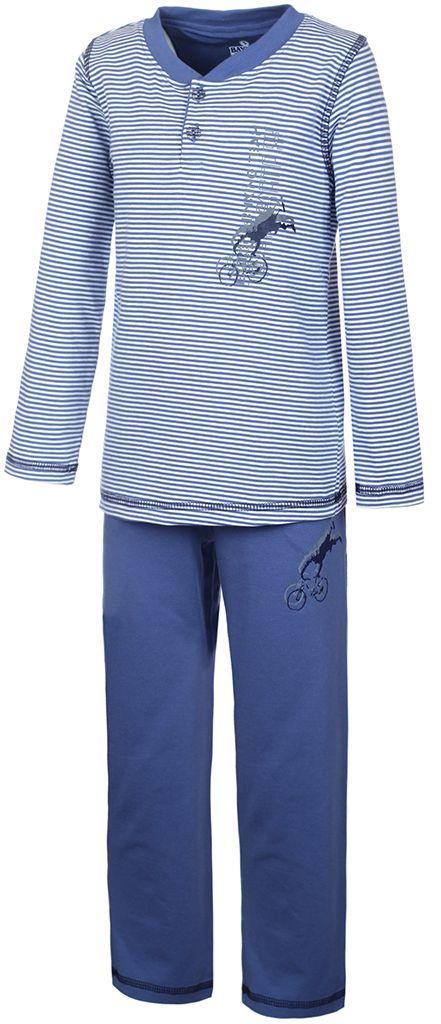 N9051160Пижама для мальчика Baykar включает в себя футболку с длинным рукавом и брюки. Пижама изготовлена из эластичного хлопка. Футболка с длинными рукавами и круглым вырезом горловины застегивается на 2 пуговицы на груди. Модель оформлена принтом в полоску и дополнена изображением велосипедиста. Свободные брюки с широкой эластичной резинкой на поясе дополнены двумя втачными карманами и имеют комфортные эластичные швы. Изделие украшено небольшим принтом с изображением велосипедиста, исполняющего трюк.