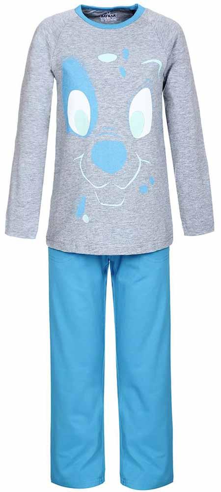 ПижамаN9095207Мягкая пижама для мальчика Baykar, состоящая из футболки с длинным рукавом и брюк выполнена из хлопка с добавлением эластана. Футболка с круглым вырезом горловины и длинными рукавами. Брюки на талии имеют мягкую резинку, благодаря чему они не сдавливают животик ребенка и не сползают. Брюки по бокам дополнены втачными кармашками. Изделие оформлено принтом с изображением мордочки щенка.