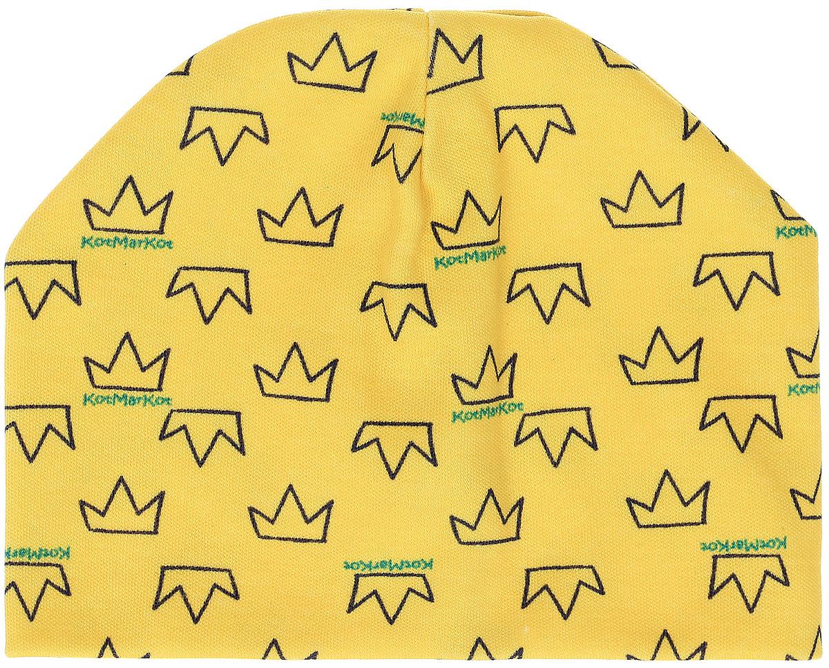 Шапочка8574Шапочка КотМарКот Baby Queen изготовлена из натурального хлопка. Двойная модель шапочки оформлена принтом с изображением корон. Шапочка необходима любому младенцу, она защищает еще не заросший родничок, щадит чувствительный слух малыша, прикрывая ушки, а также предохраняет от теплопотерь. Уважаемые клиенты! Размер, доступный для заказа, является обхватом головы.