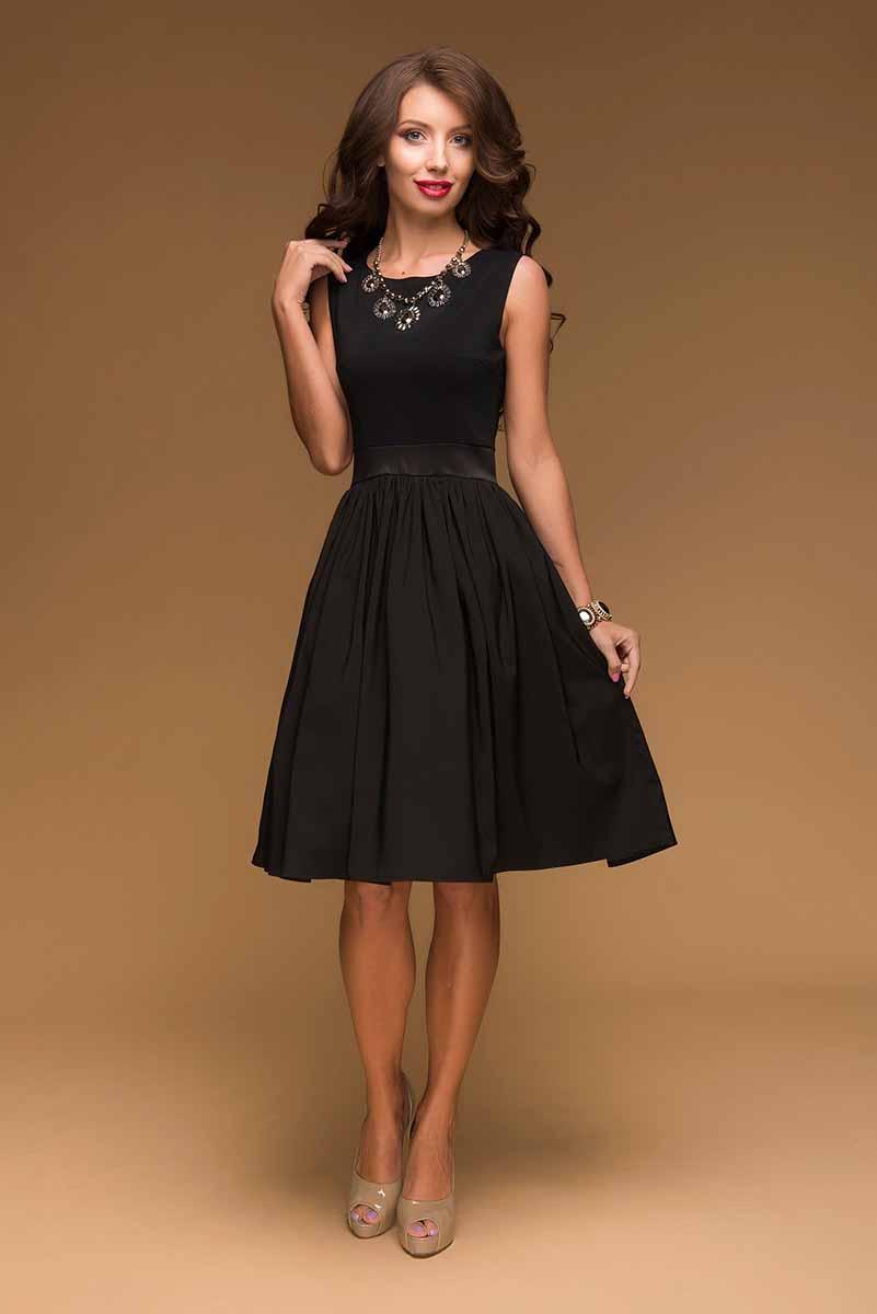 ПлатьеDM00075Платье-миди 1001 Dress - базовая модель в черном цвете. За счет комбинирования прилегающего верха и пышной юбки платье идеально садится практически на любую фигуру, визуально стройнит и вытягивает силуэт. Отличный вариант для тематических вечеринок – можно создать любой образ: стиляги, ретро, Чикаго и т.п.