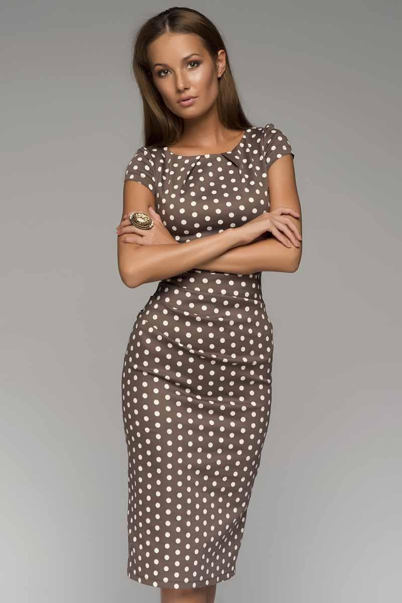 ПлатьеDM00204_горохПлатье-футляр 1001 Dress в горох. Платье выполнено из хлопка. Идеальный выбор для работы в офисе - элегантно, сдержанно и женственно, одновременно.