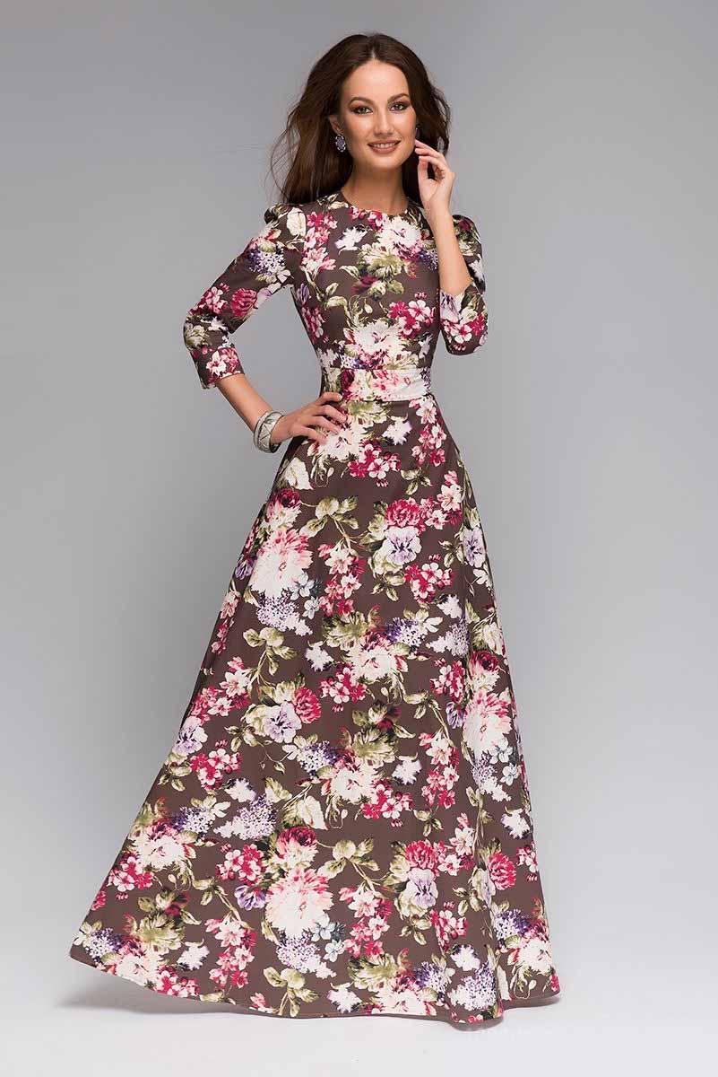 ПлатьеDM00206Длинное платье 1001 Dress с цветочным принтом. Платье выполнено из хлопковой ткани с добавлением эластана. Крупный цветочный принт визуально скроет недостатки силуэта. Подходит для любого типа фигуры и возраста.