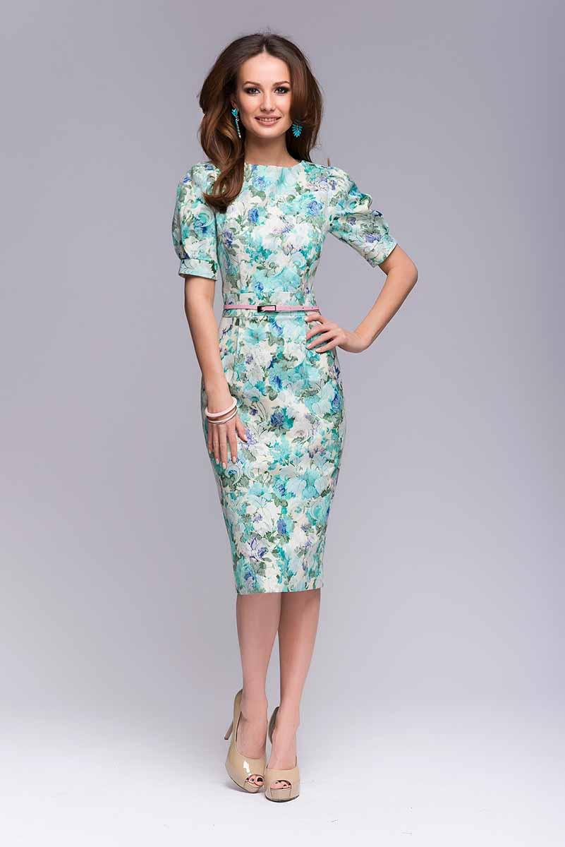 ПлатьеDM00364Платье с цветочным принтом 1001 Dress. Платье выполнено из набивного жаккарда – очень красивой и плотной ткани, образованной переплетением крученых нитей. Обеспечивает идеальную посадку по фигуре. Оригинальная модель рукава фонарик. Сзади шлица и потайная молния.