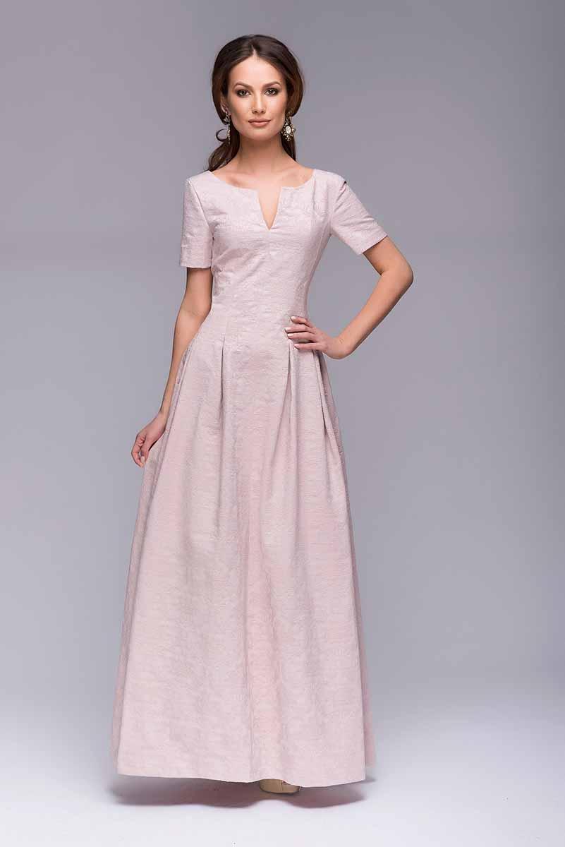 ПлатьеDM00383Длинное вечернее платье 1001 Dress. Элегантный V-образный вырез в зоне декольте и на спинке. Оригинальные рельефы, переходящие во встречные складки на юбке. Благодаря использованию хлопковой жаккардовой ткани на платье создается роскошный ажурный рисунок.