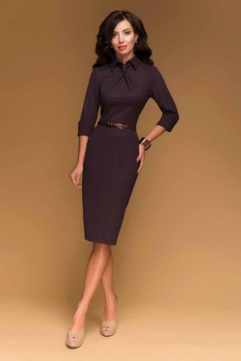 ПлатьеDM00455Платье-футляр 1001 Dress в ретро-стиле. Классический силуэт. Детали: элегантная длина миди, оригинально выполненный ворот с имитацией галстука. Сзади шлица и молния. Идеальное решение для офиса – переговоры закончатся в вашу пользу.
