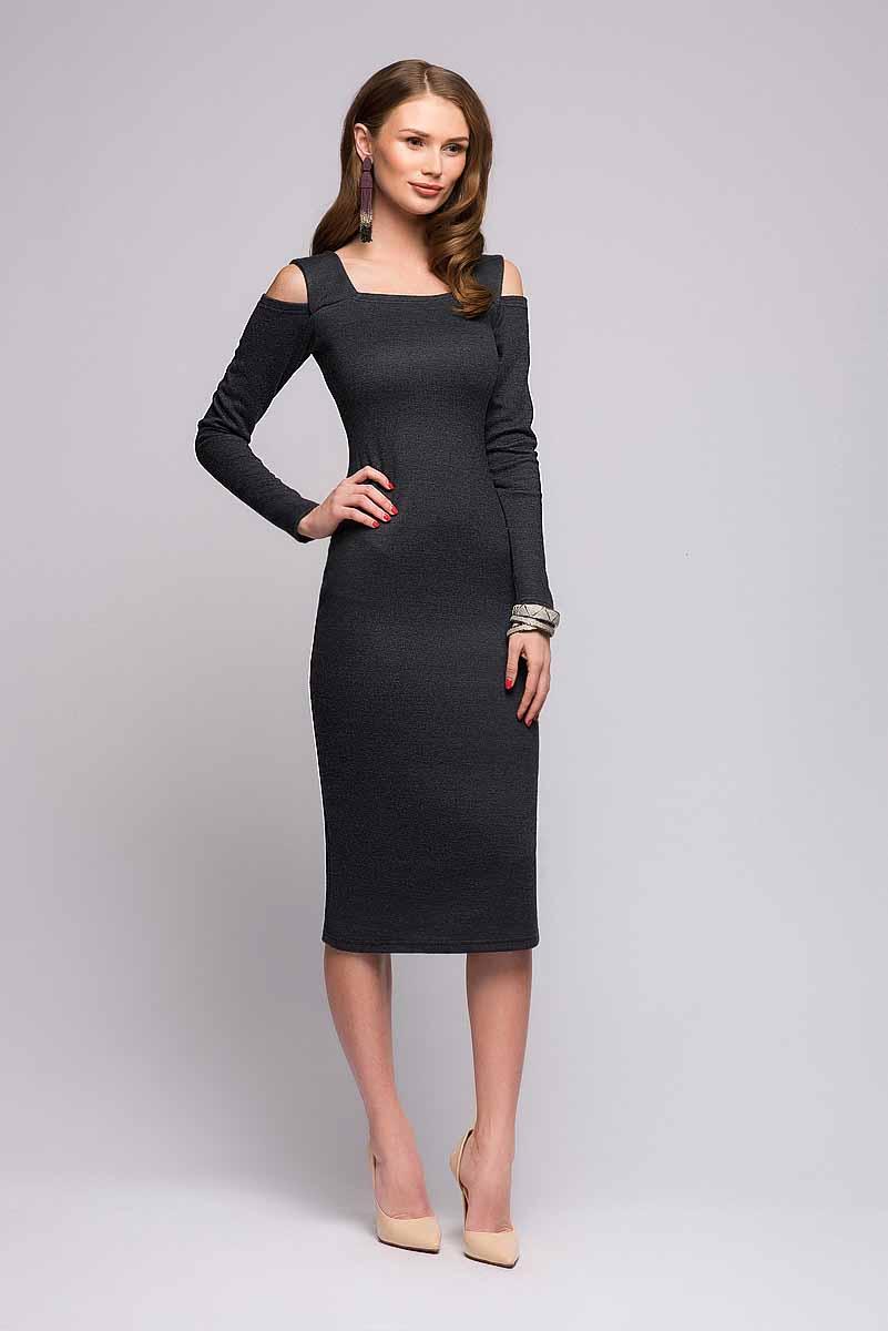 ПлатьеDM00685Платье 1001 Dress выполнено из вязаного трикотажа. Приталенный силуэт, длина миди, интересная ткань, оригинальные вырезы на плечах. Отличное платье на каждый день, с которым можно создавать любой образ при помощи аксессуаров.
