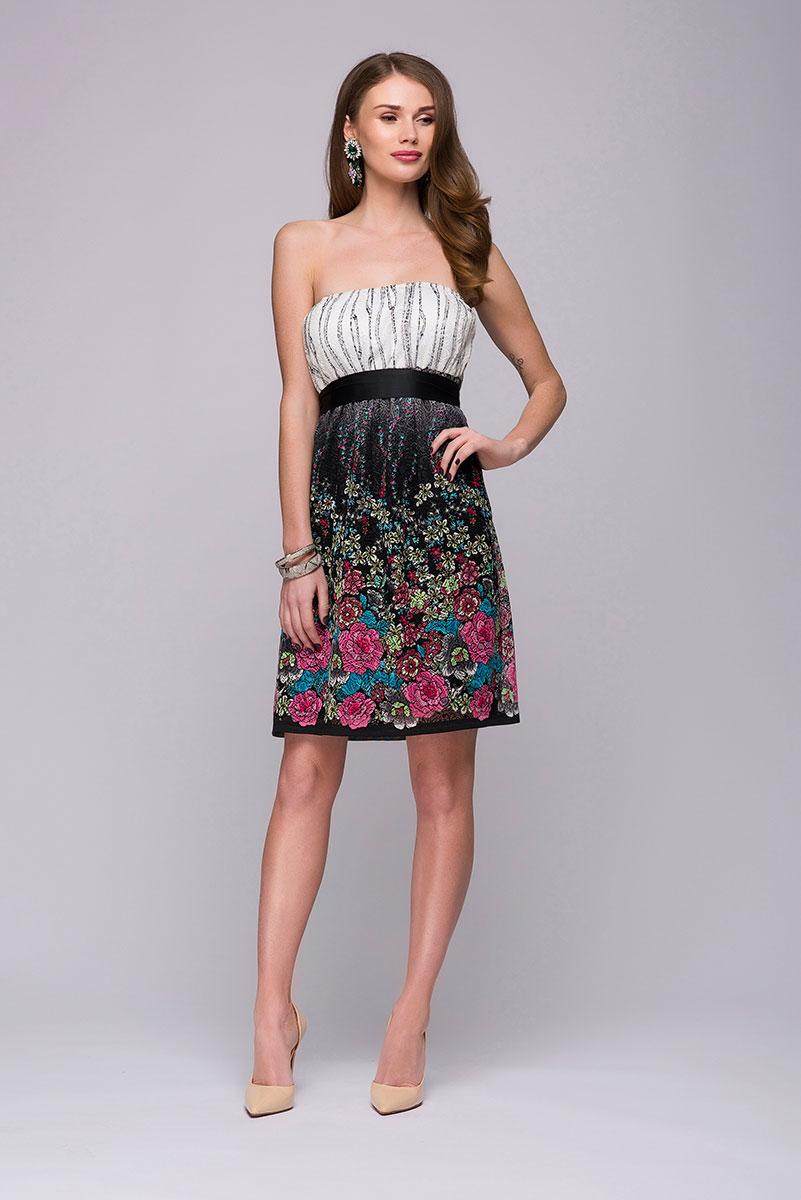 ПлатьеDM00716Если вы любите цветочные принты и женственные образы, то это платье от 1001 Dress станет отличным дополнением к вашей коллекции красивых нарядов. Платье выглядит легким и романтичным благодаря интересному принту и открытым плечам. Талия удачно подчеркивается поясом из ткани.