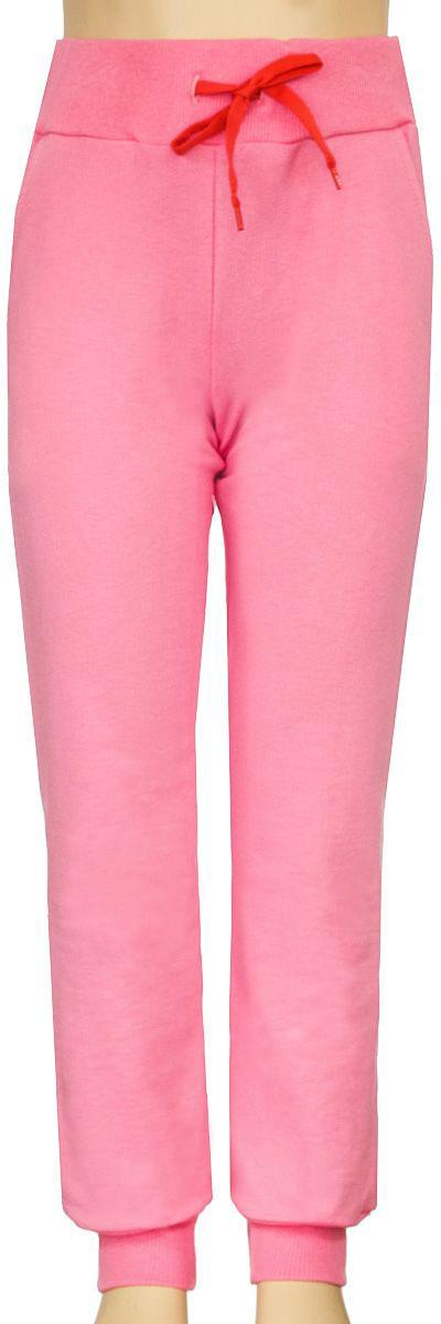 Брюки спортивныеБ1903БВ-5Спортивные брюки для девочки выполнены из качественного эластичного материала. Брюки на талии имеют широкую эластичную резинку, благодаря чему, они не сдавливают живот ребенка и не сползают. Объем талии регулируется с помощью шнурка. Спереди предусмотрены два втачных кармашка. Низ брючин дополнен эластичными манжетами.