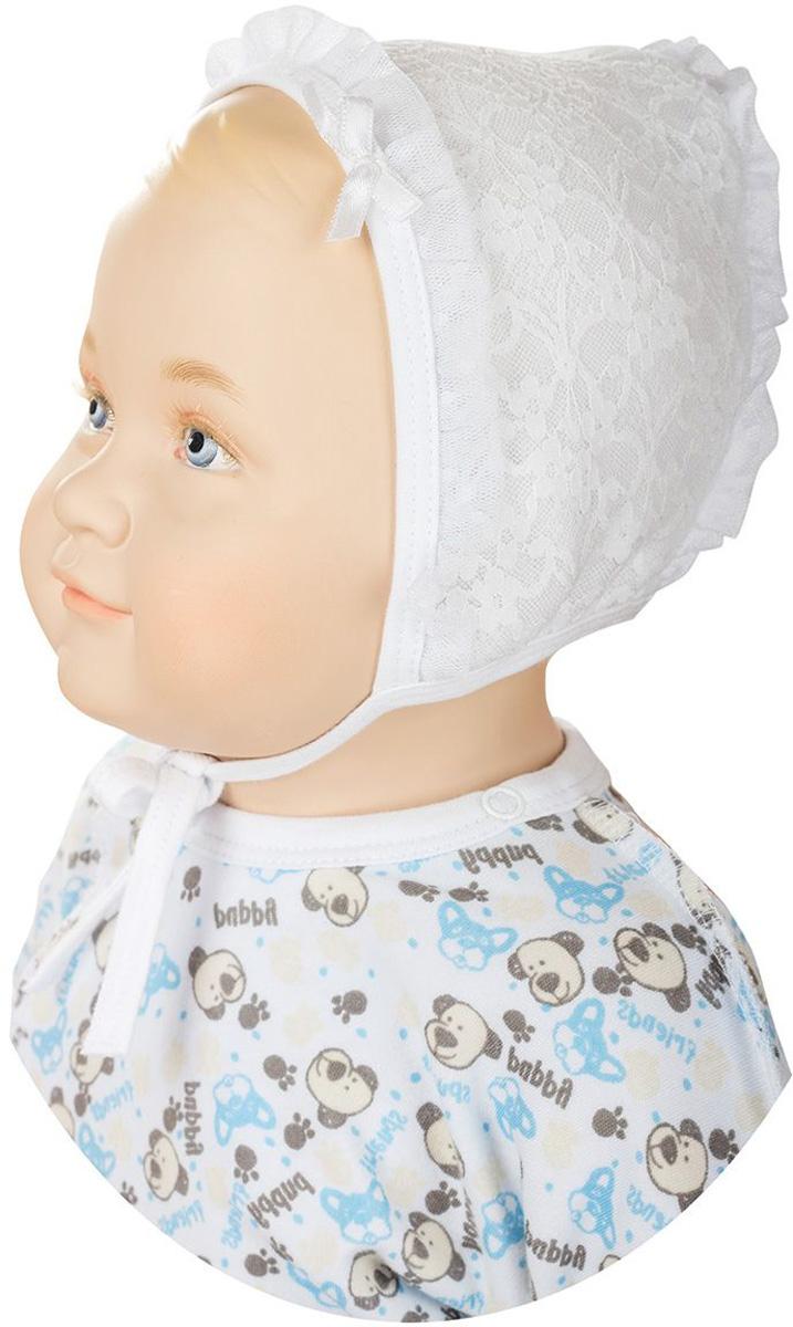 ЧепчикШП66-1Мягкий чепчик для девочки БЕМБІ изготовлен из натурального хлопка. С помощью завязок можно регулировать обхват головы и шеи. Оформлена модель кружевом и маленьким бантиком. Уважаемые клиенты! Размер, доступный для заказа, является обхватом головы.