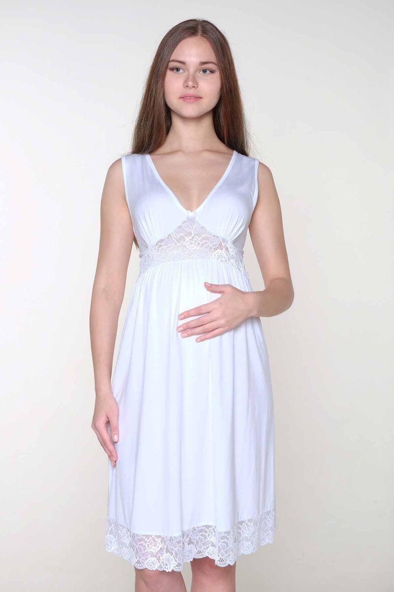 Ночная рубашка1-ФП 17709Элегантная сорочка для будущих мамочек выполнена из высококачественного хлопка с добавлением эласатна. Красивая отделка кружевом.