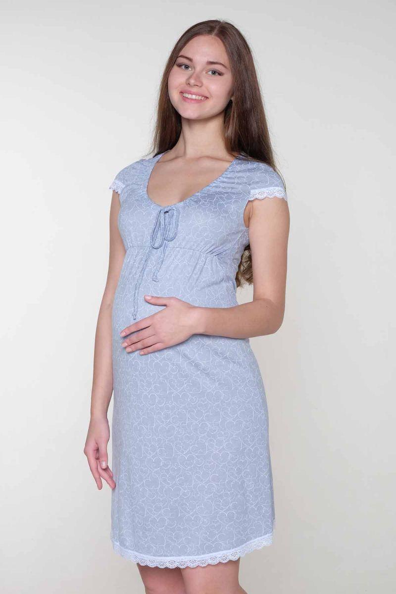 1-НМП 07309Ночная сорочка выполнена из высококачественного вискозного материала. Элегантная сборка по горловине. Короткий рукав и низ сорочки отделаны кружевом.