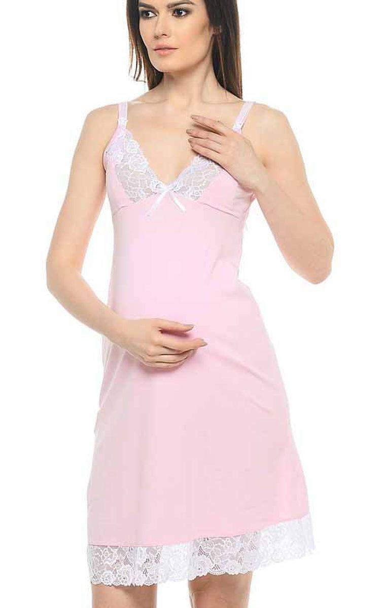 1-НМП 10902Удобная трикотажная ночная сорочка для беременных и кормящих Hunny Mammy изготовлена из высококачественного хлопкового материала с добавлением эластана. Сорочка с секретом для кормления, застежка-клипса. Чашка и низ сорочки отделаны кружевом.