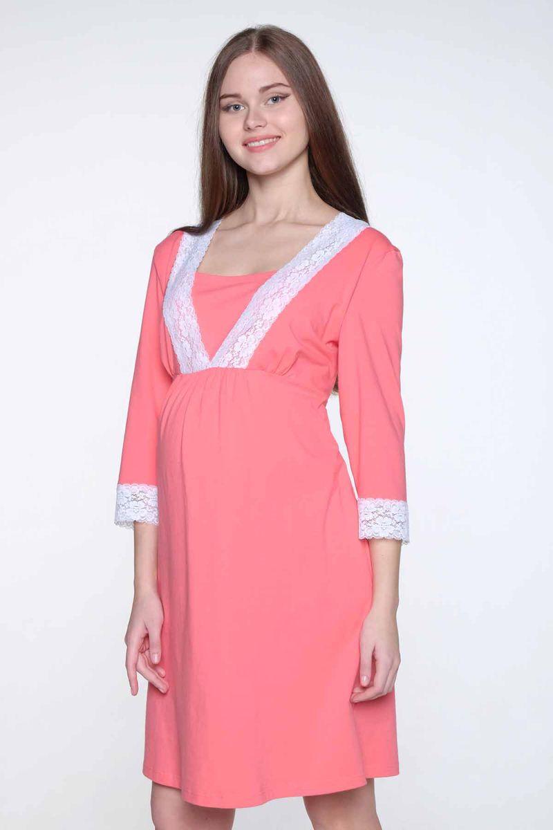 Ночная рубашка2-НМП 20402Удобная трикотажная ночная сорочка для беременных и кормящих Hunny Mammy, изготовленная из высококачественного хлопкового материала с добавлением эластана. Сорочка с рукавами 3/4, украшенными кружевными манжетами. Имеется секрет для кормления.