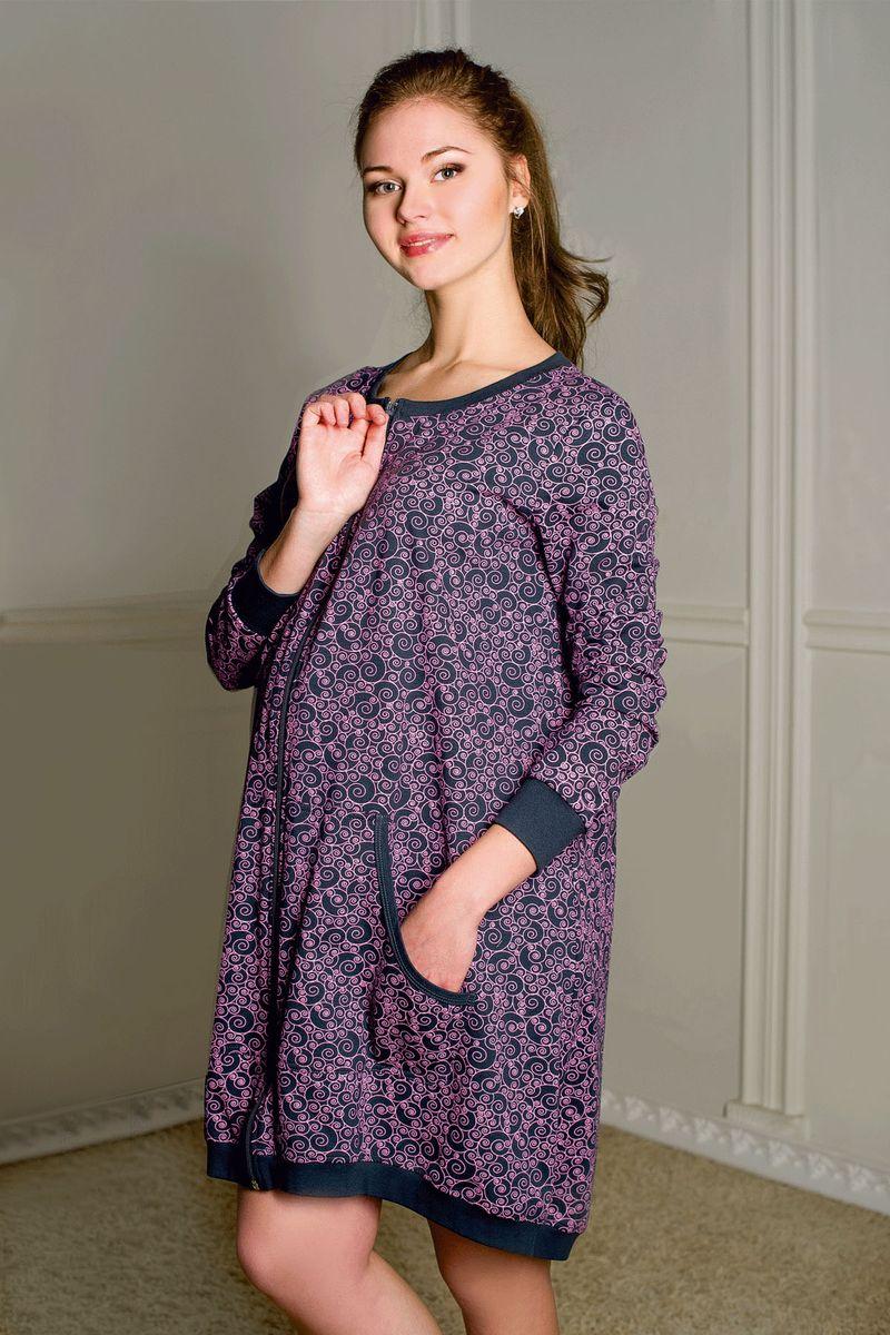 Халат1-К 06502Халат женский для беременных и кормящих выполнен из хлопкового набивного трикотажа. Застежка на молнию, карманы кенгуру, втачной длинный рукав, асимметричный низ изделия на широкой обтачке.
