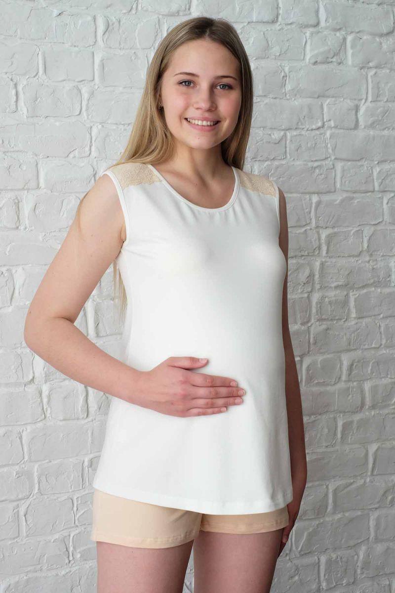 Пижама1-НМП 18828Удобная пижама для беременных женщин , состоит из майки удобного покроя для растущего животика с контрастной кружевной отделкой и шорт с резиной под живот.