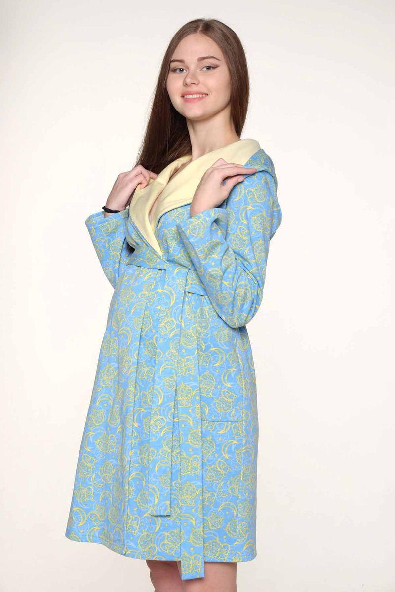 2-НМК 03514Уютный халат для беременных и кормящих выполнен из качественного теплого трикотажного полотна. Халат на запах, длинный рукав, капюшон.