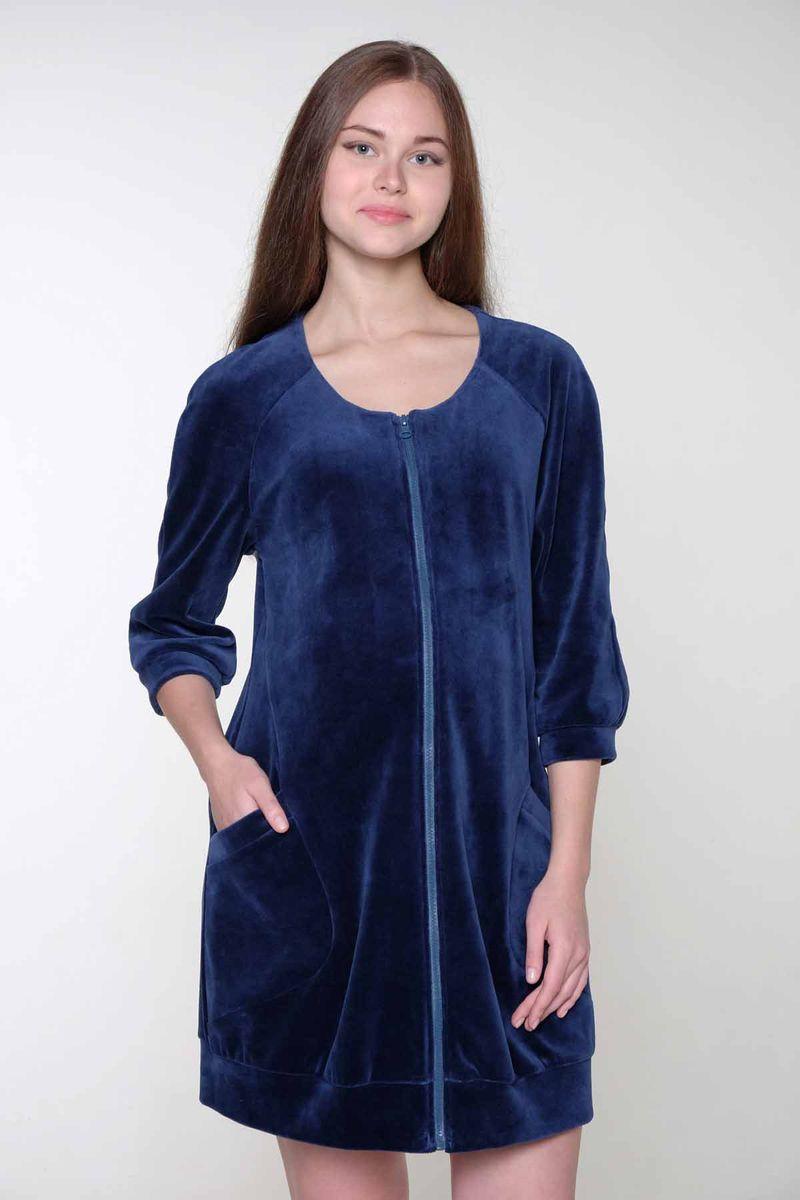 Халат2-НМК 08207Очаровательный халат для беременных и кормящих выполнен из смесового полотна. Спереди удобная застежка на молнию. По бокам оригинальные вместительные карманы.