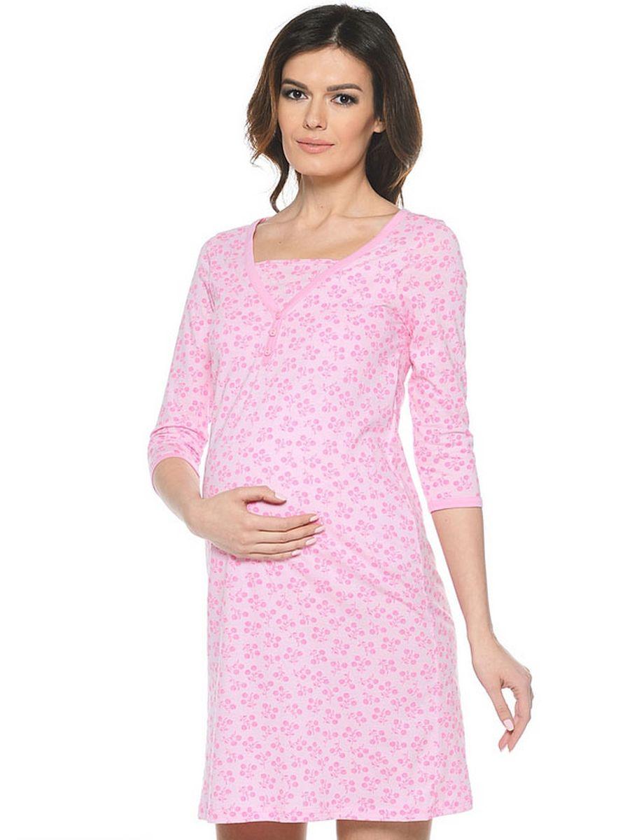 П 14401Ночная сорочка с рукавом 3/4 имеет глухую застежку на пуговицы и дополнена внутренней деталью по груди.