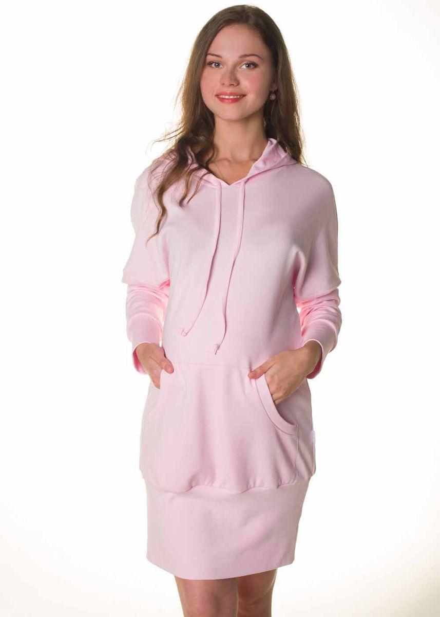 Платье домашнееО 06403Платье домашнее из эластичного трикотажного полотна. На полочке - накладной карман. Горловина изделия обработана капюшоном со шнурком. Рукав длинный на манжете. Низ изделия на широкой обтачке.