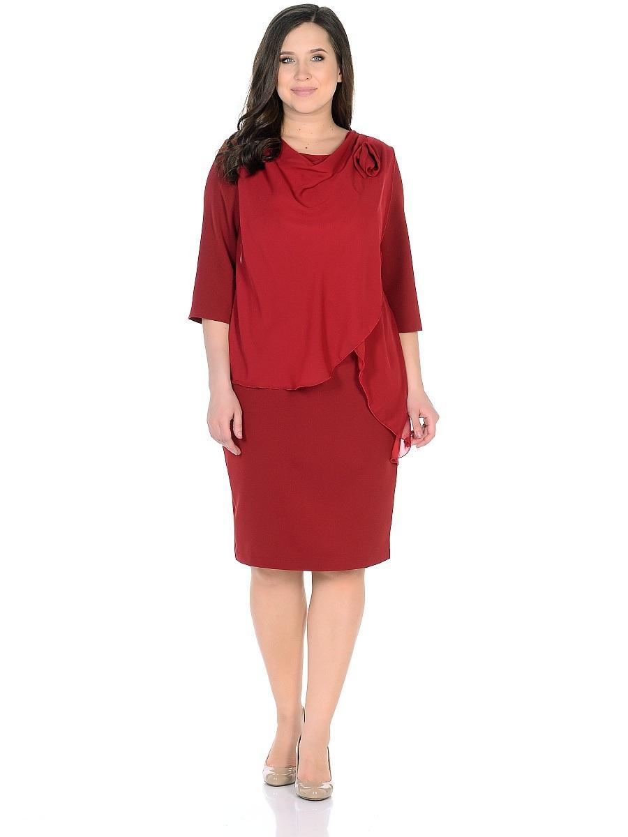 91673Платье Milana Style выполнено из 100% полиэстера. Платье-миди с круглым вырезом горловины и рукавами длинной 3/4 застегивается на потайную застежку-молнию расположенную в среднем шве спинки. На спинке расположен набольшой разрез. Перед модели оформлен оригинальной драпировкой и текстильным цветком.