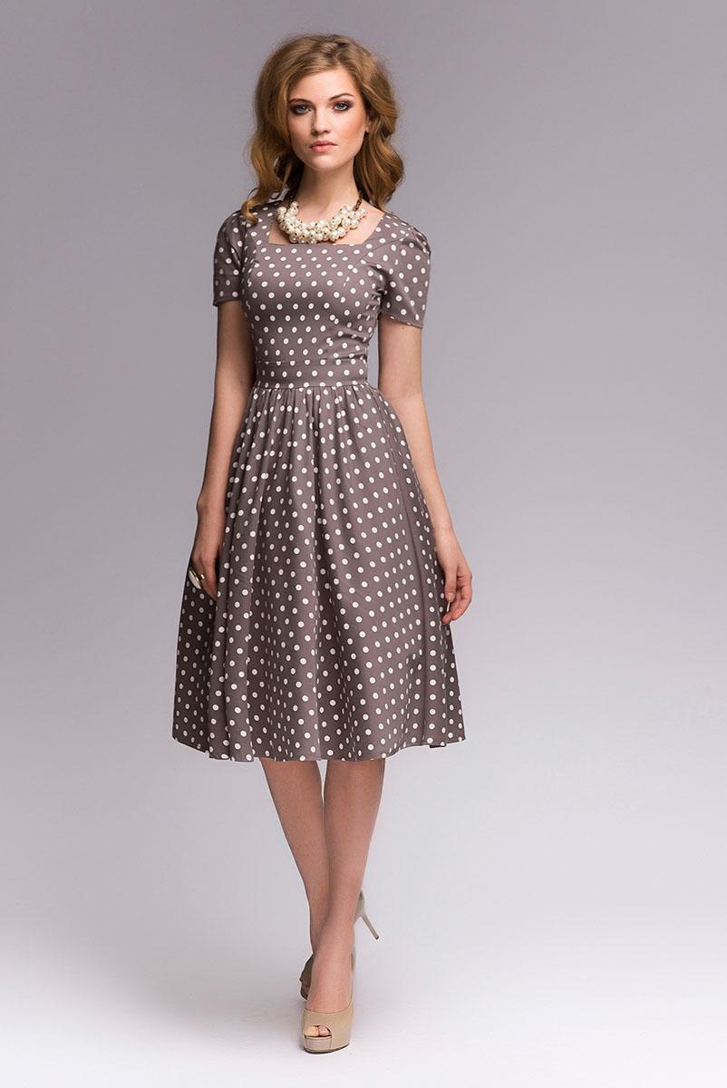 ПлатьеDM00357Платье-миди 1001 Dress в горошек в стиле ретро. Вырез горловины типа каре. Акцент на талии достигается благодаря сочетанию прилегающего верха и пышной юбки длины миди.