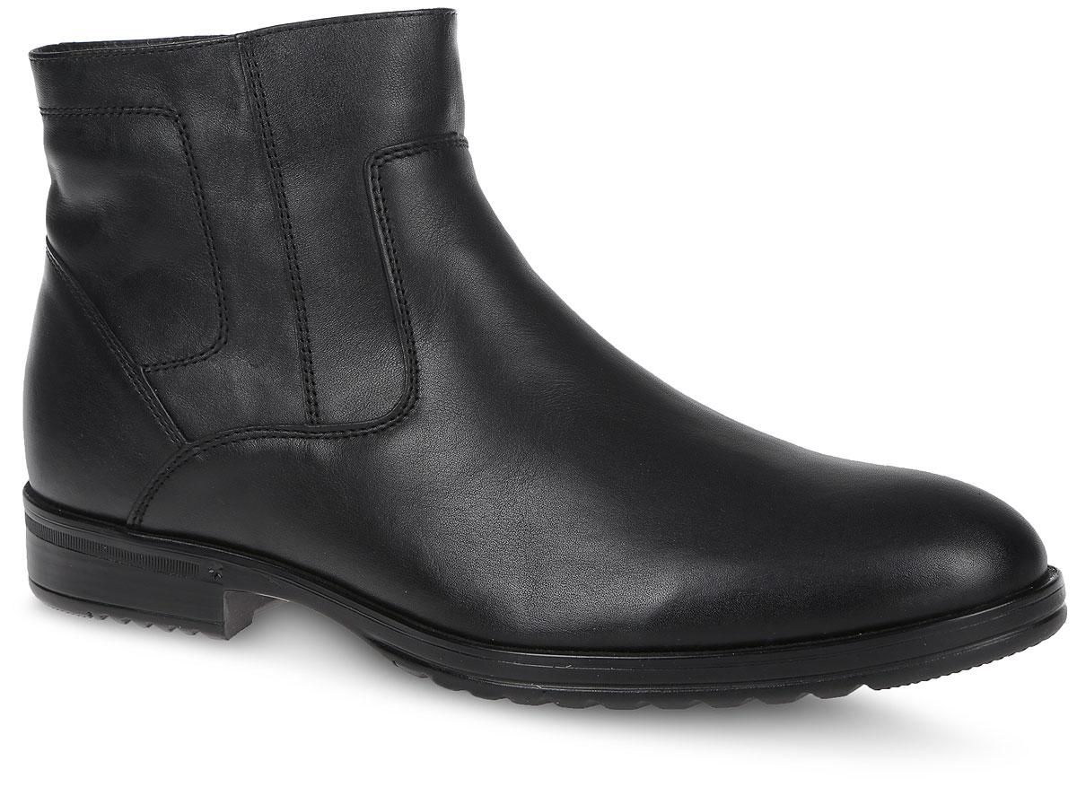 22537Мужские ботинки от Marko выполнены из натуральной кожи. Модель оформлена прострочкой. Боковая сторона дополнена застежкой-молнией. Подкладка и стелька изготовлены из натурального меха. Подошва из термоэластопласта оснащена рифлением.