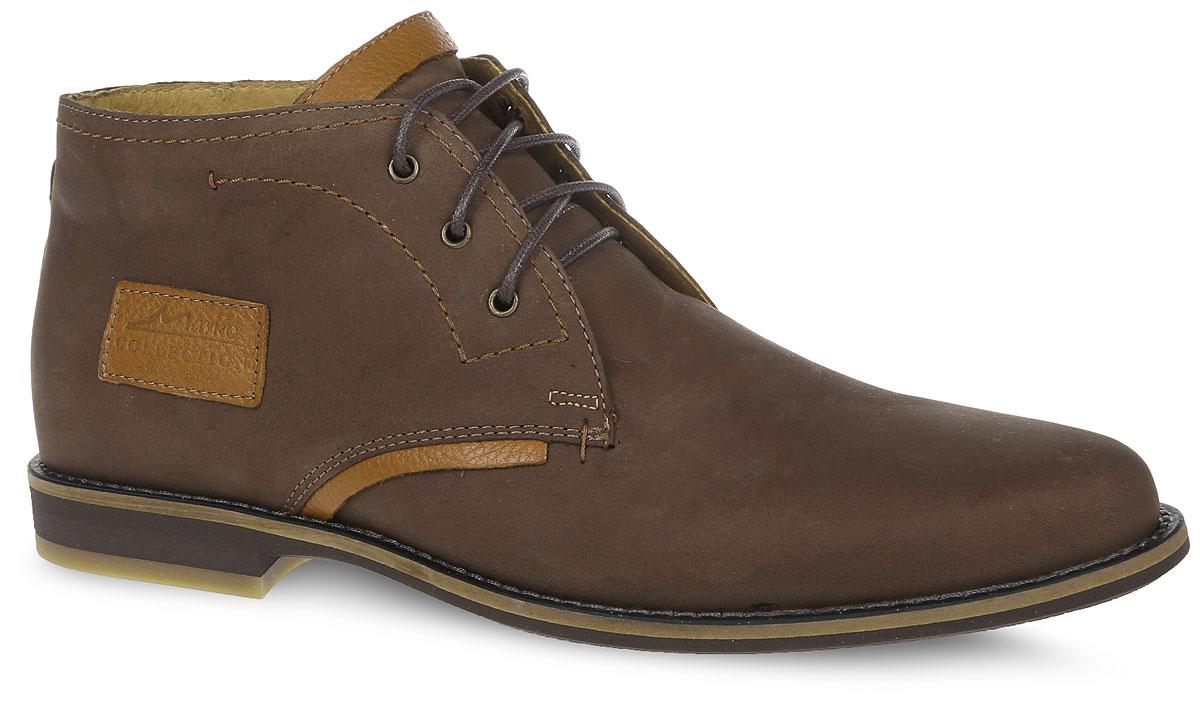 22611Мужские ботинки от Marko выполнены из натурального нубука. Подъем модели оформлен шнуровкой. Изделие декорировано прострочкой. Подкладка изготовлена из натуральной кожи и текстиля, стелька - из натуральной кожи. Подошва из резины оснащена рифлением.
