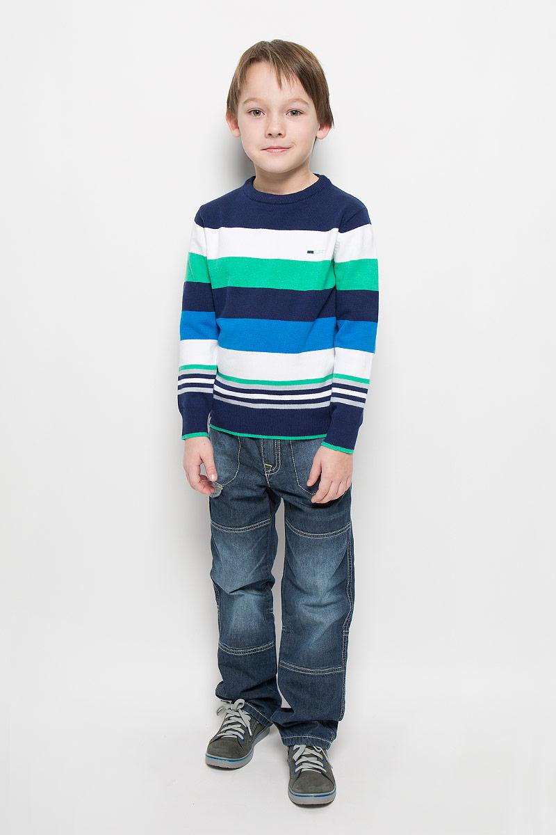 Джемпер361156Уютный джемпер для мальчика PlayToday изготовлен из вязаного эластичного трикотажа. Воротник, манжеты и низ изделия связаны широкой резинкой. Джемпер оформлен полосками разных цветов, украшен небольшой вышивкой на груди.