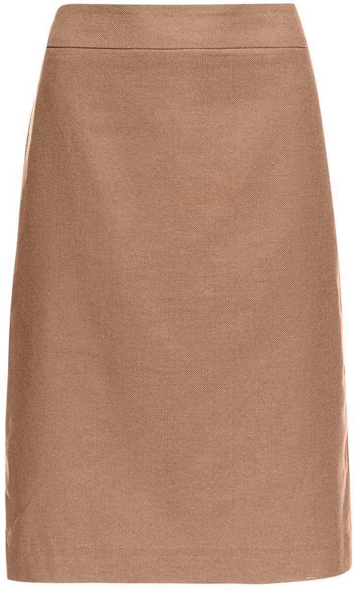 21601254-5/45503/3500NМодная юбка-карандаш oodji Collection выполнена из хлопка, льна и вискозы. Подкладка изготовлена из тонкой гладкой ткани. Юбка застегивается сзади на застежку-молнию. Модель выполнена в строгом лаконичном дизайне. С задней стороны имеется вырез.