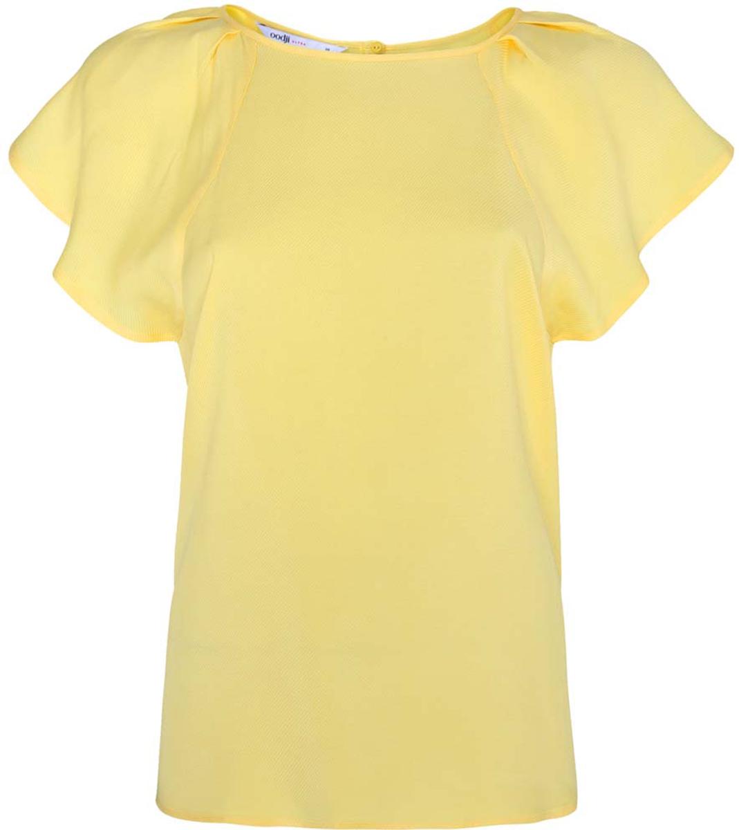 11411106/45542/7500NЖенская блузка oodji Ultra выполнена из вискозы. Модель с круглым вырезом горловины и рукавами-крылышками, на спинке застегивается на пуговицу.