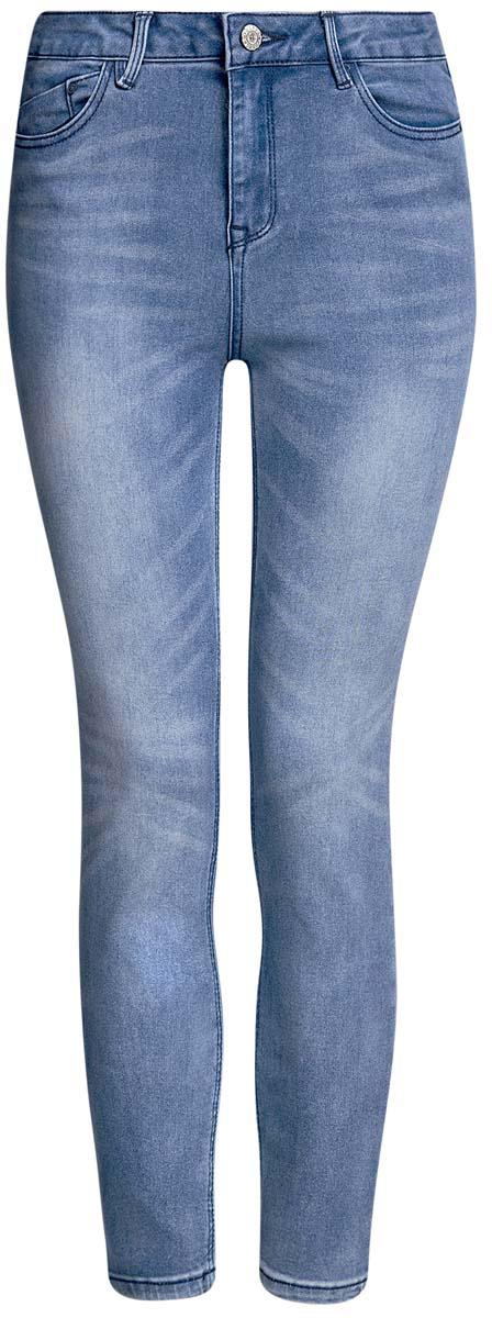 Джинсы12106138/45875/7500WСтильные женские джинсы oodji Denim выполнены из хлопка с добавлением полиэстера и эластана. Материал мягкий и приятный на ощупь, не сковывает движения и позволяет коже дышать. Джинсы-скинни со средней посадкой застегиваются на пуговицу в поясе и ширинку на застежке- молнии. На поясе предусмотрены шлевки для ремня. Спереди модель дополнена двумя втачными карманами и одним накладным кармашком, сзади - двумя накладными карманами. Модель оформлена эффектом потертости.