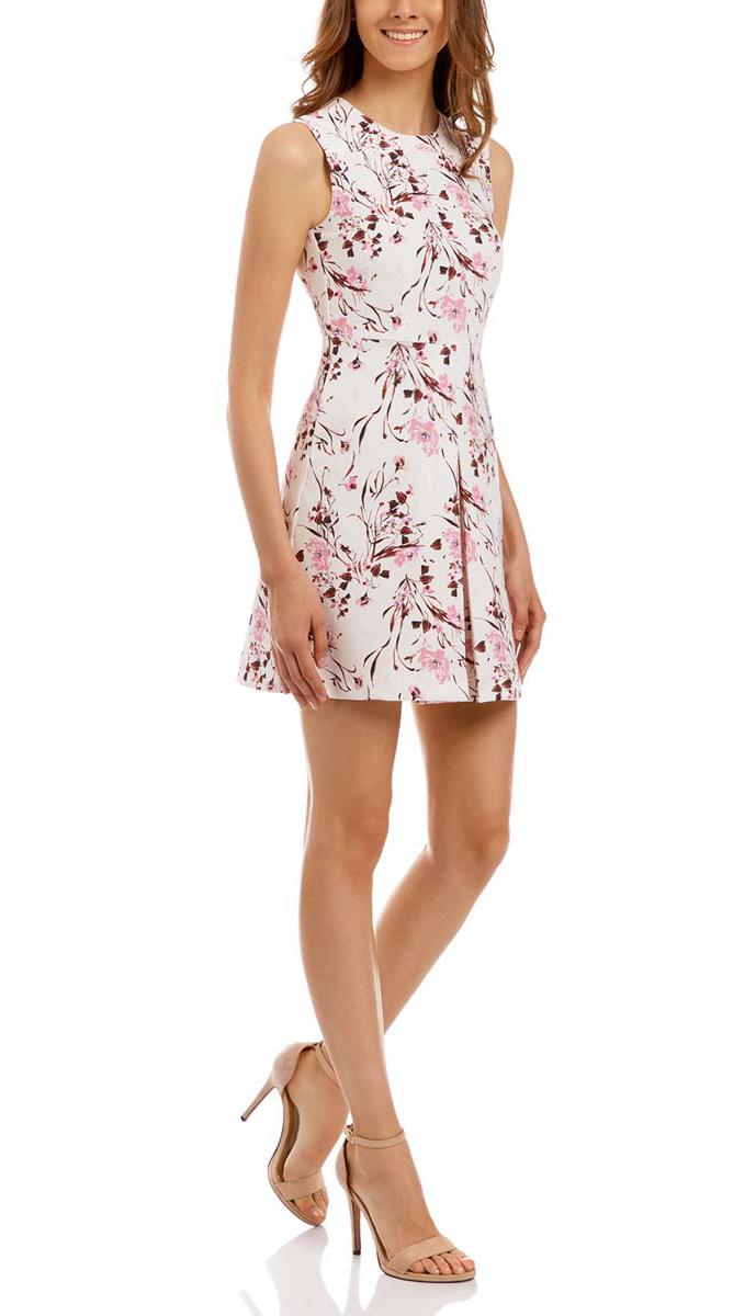 Платье11913024/45559/2019FПлатье oodji Ultra выполнено из принтованной плотной ткани. Модель с круглым вырезом горловины. Спинка дополнена потайной застежкой-молнией. Низ оформлен крупной складкой.