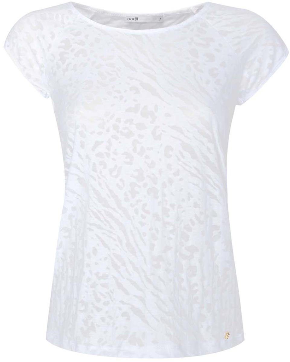 Блузка24707002-1/45533/4000AСтильная блузка oodji Collection выполнена натурального хлопка и полиэстера. Модель с короткими рукавами и круглой горловиной оформлена полупрозрачным оригинальным принтом. Низ блузки дополнен маленьким декоративным элементом круглой формы.
