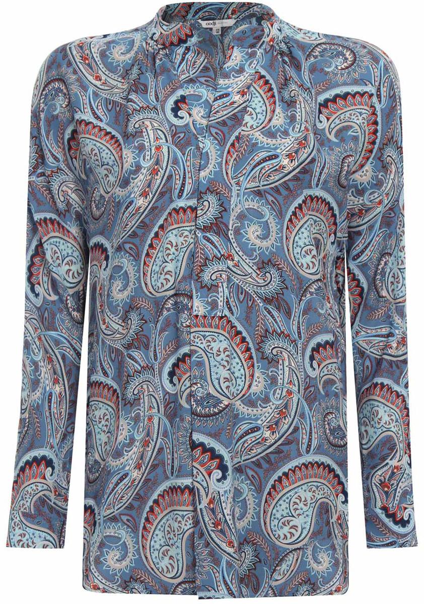 Блузка21405135/45192/7370EБлузка женская oodji Collection выполнена из легкой воздушной ткани и имеет свободный силуэт. Застегивается спереди на скрытые пуговицы, оснащена пуговицами на манжетах. Изделие имеет длинные рукава и V-образный вырез горловины.