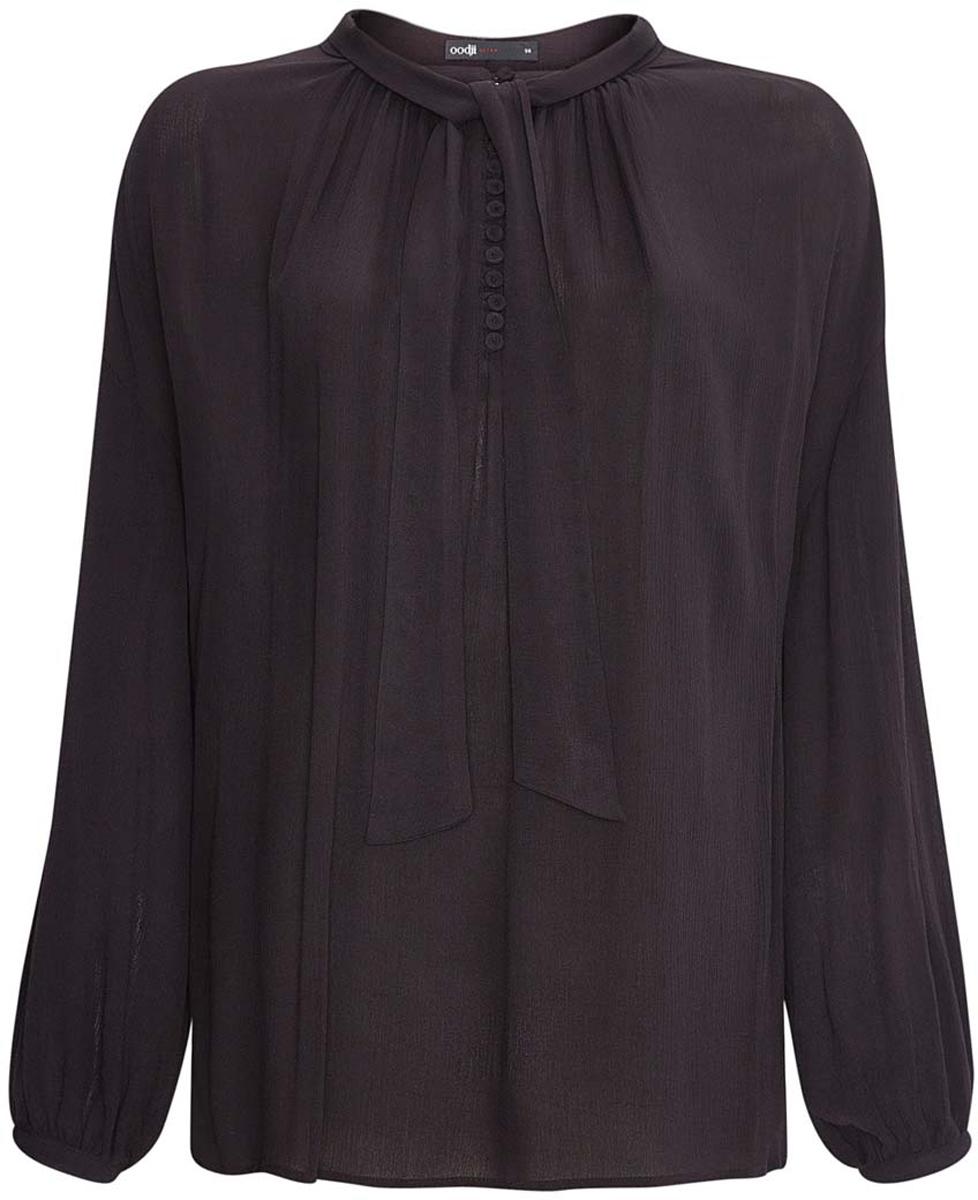Блузка11411122M/45190/2900NЖенская блузка свободного кроя oodji Ultra выполнена из вискозы. Модель с круглым вырезом горловины и стандартными рукавами, спереди застегивается на пуговицы. Ворот дополнен завязками.
