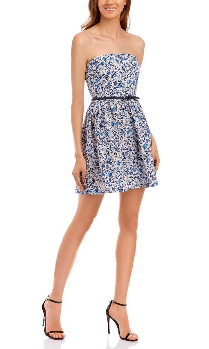 Платье11902101-6/14912/1075FМодное платье oodji Ultra станет отличным дополнением к вашему гардеробу. Модель выполнена из натурального хлопка. Платье-мини без рукавов и без застежки дополнено по спинке широкой эластичной резинкой. От линии пояса заложены складочки. В поясе модель дополнена стильным ремешком из искусственной кожи. Оформлено платье нежным цветочным принтом.