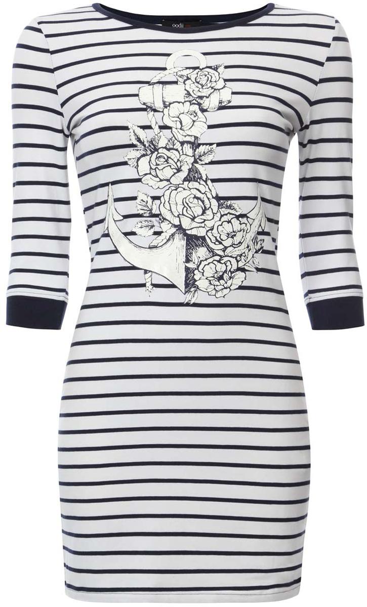 Платье14001071-4/24568/1079PТрикотажное полосатое платье oodji Ultra выполнено из хлопка с добавлением полиуретана. Модель с круглым вырезом горловины, принтом на лицевой стороне и рукавами 3/4.