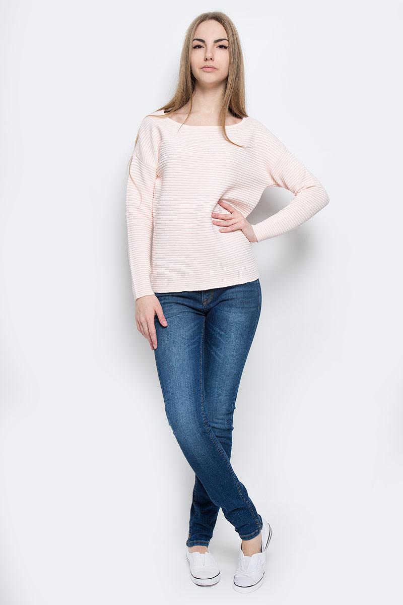 16055336_Heavenly PinkЖенский джемпер Selected Femme выполнен из сочетания хлопка и акрила. Модель, с круглым вырезом горловины и длинными рукавами-кимоно, выполнена в лаконичном стиле.