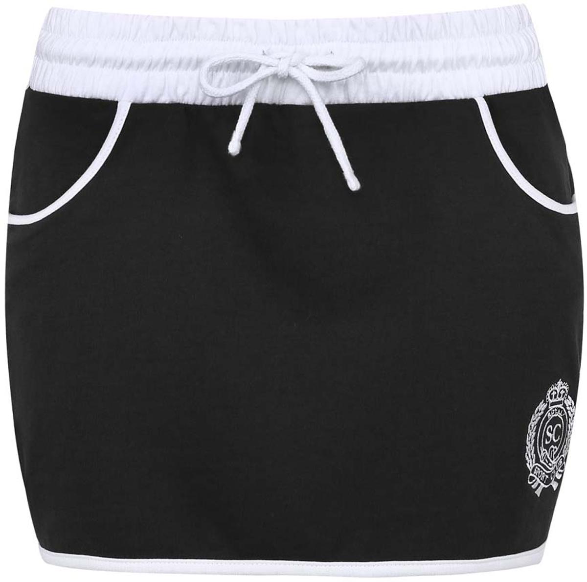 16801025-5/43042/2910PМини-юбка в спортивном стиле oodji Ultra выполнена из 100% хлопка. Пояс модели оснащен резинкой и шнурками. С лицевой стороны расположены два втачных кармана. Юбка дополнена вышивкой.