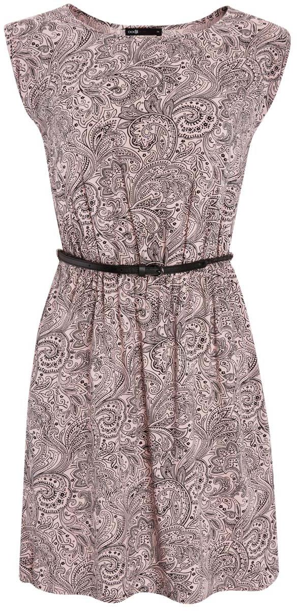 Платье11910073/26346/4B29EПлатье oodji Ultra без рукавов исполнено из легкой струящейся ткани. Имеет круглый вырез воротника и резинку на талии. В комплект входит поясок с металлической пряжкой.