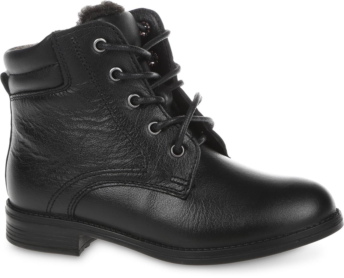 52124Стильные ботинки New Stars от San Marko покорят вашего ребенка с первого взгляда. Модель выполнена из натуральной кожи. Шнуровка надежно зафиксирует модель на ноге. Боковая застежка-молния позволяет легко снимать и надевать модель. Подкладка и стелька из шерстяного меха не дадут ногам вашего ребенка замерзнуть. Подошва и невысокий каблук дополнены рифлением.