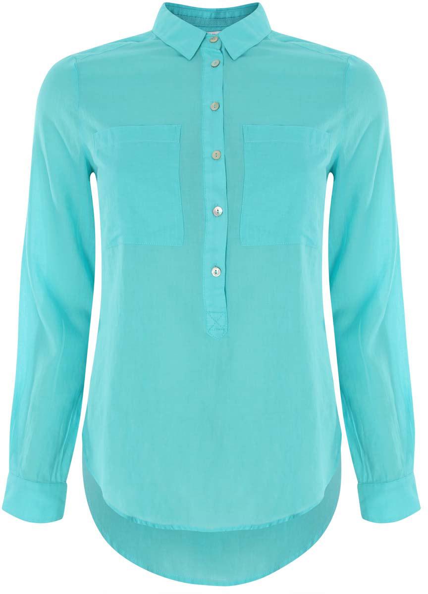 11411101B/45561/7300NЖенская блузка oodji Ultra выполнена из хлопковой ткани. Модель с отложным воротником и длинными стандартными рукавами. Спереди изделие дополнено накладными карманами и застегивается на пуговицы. Подол у блузки полукруглый.